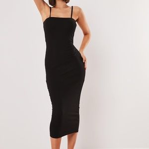 Women's NEW Black Crepe Strappy Midi Bodycon Dress